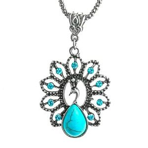 Turquoise and Silver Peacock Necklace